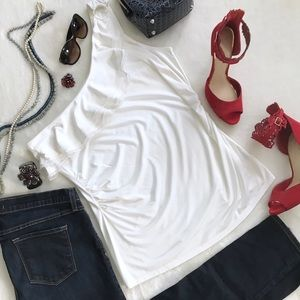 White House Black Market White One Shoulder Top Lg